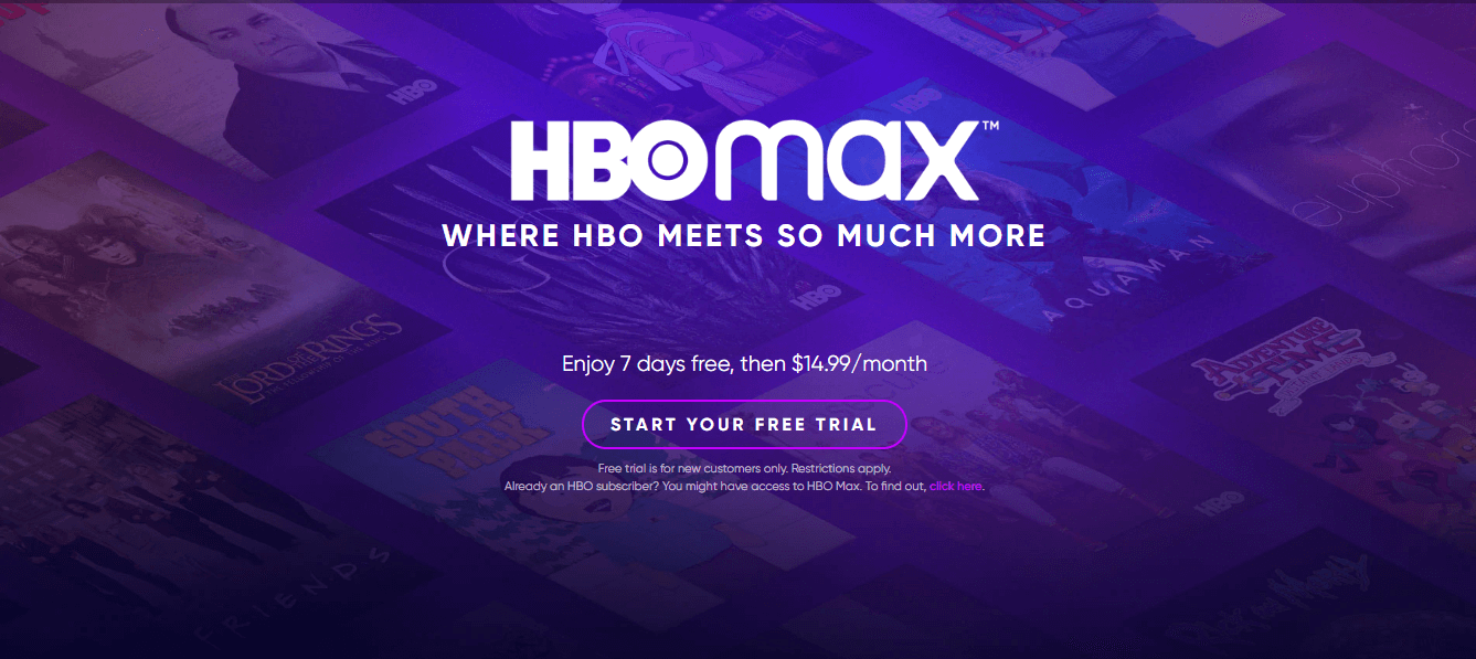 HBO Max homepage