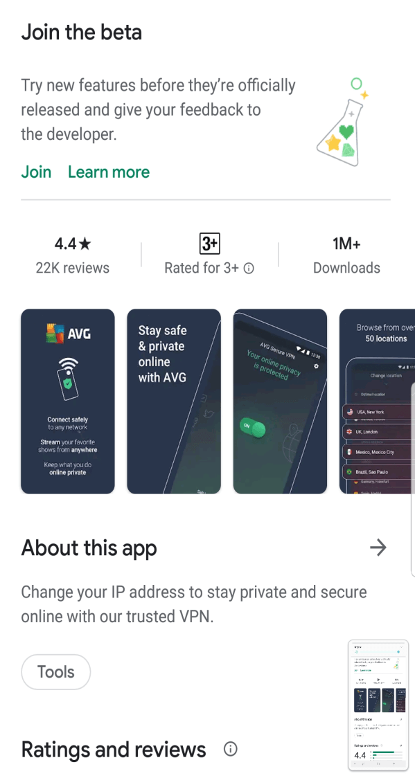 AVG Secure VPN smartphone set-up step 1